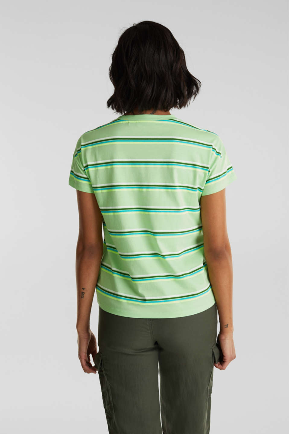 Striped top, 100% organic cotton, LIGHT GREEN, detail image number 3