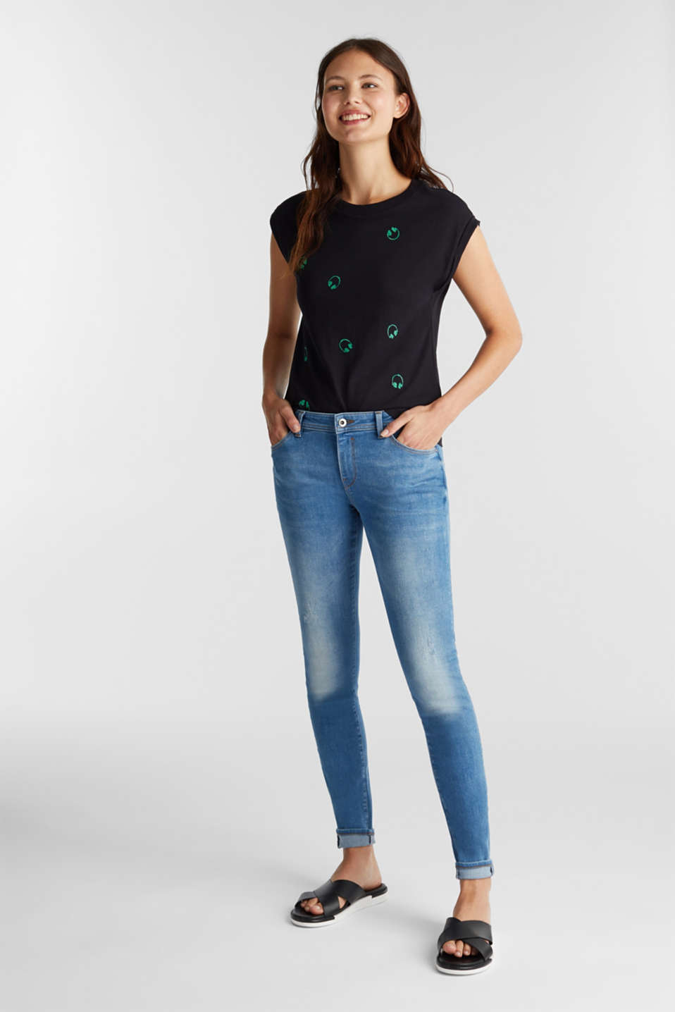 Embroidered top, organic cotton, BLACK, detail image number 1