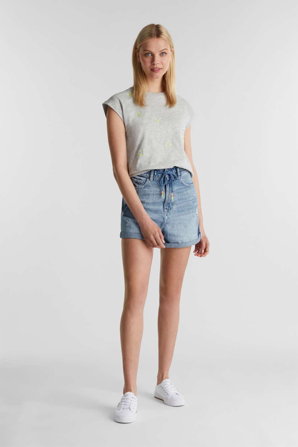 Trendy top, organic cotton, LIGHT GREY 5, detail image number 1