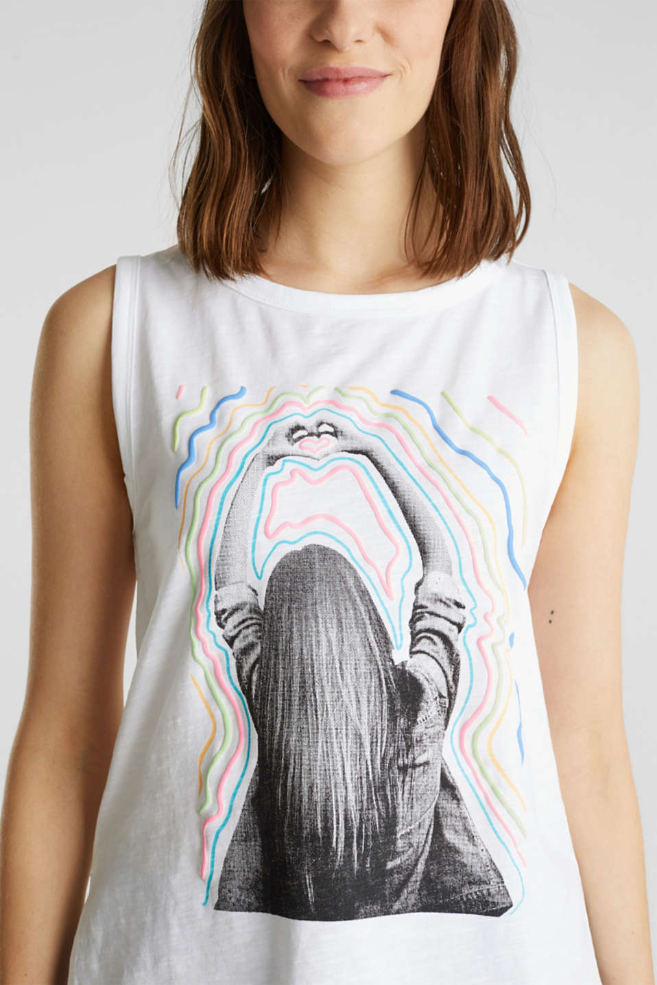 Print top, 100% organic cotton, WHITE, detail image number 2
