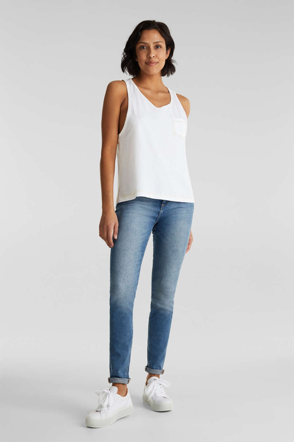 Slub top, 100% organic cotton, WHITE, detail image number 1