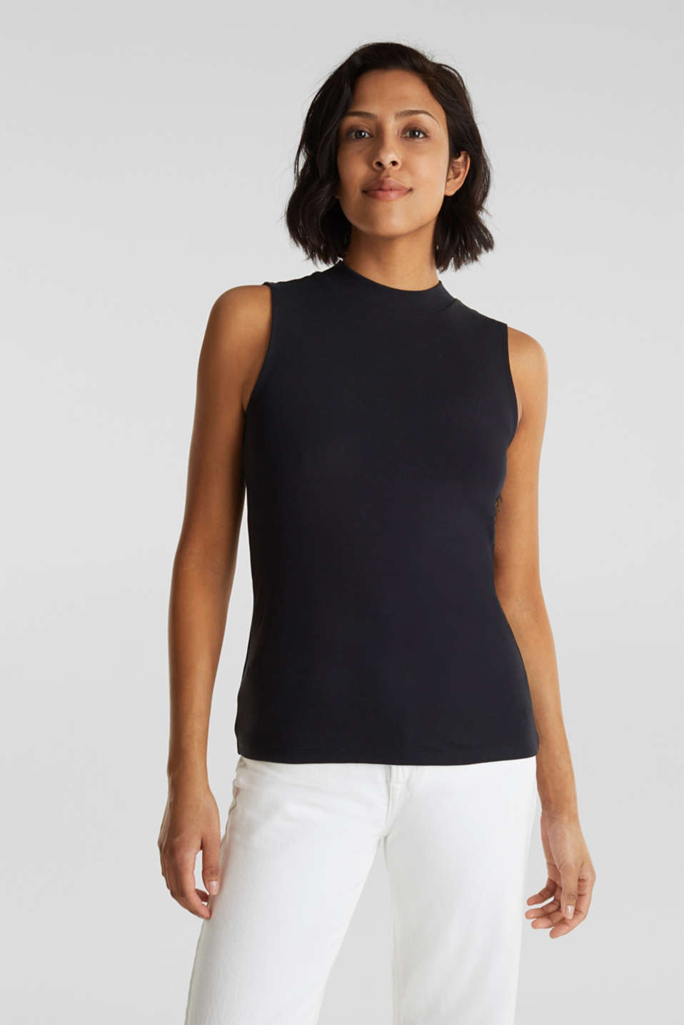 edc - Band collar top in 100% cotton