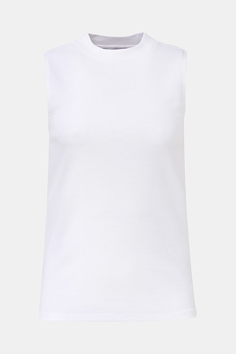Band collar top in 100% cotton