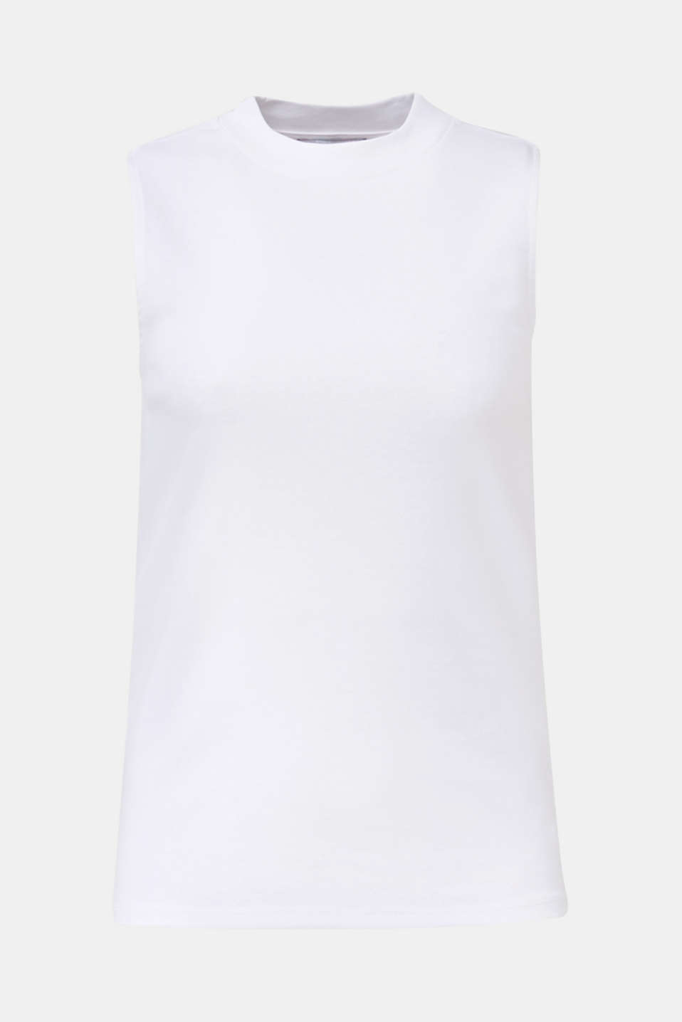 Band collar top in 100% cotton, WHITE, detail image number 4