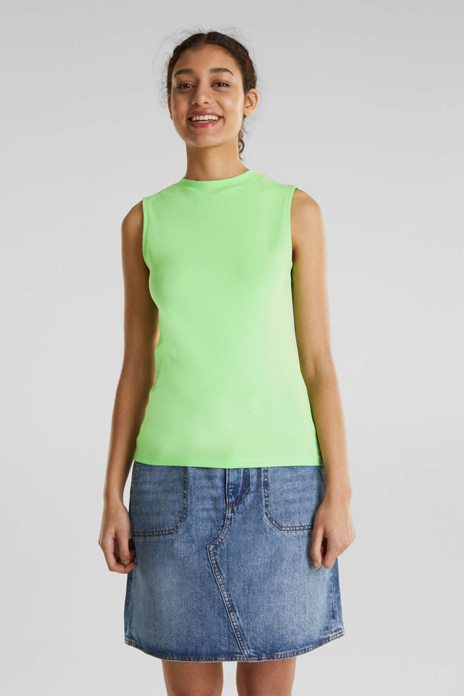 Band collar top in 100% cotton, LIGHT GREEN 4, detail image number 0