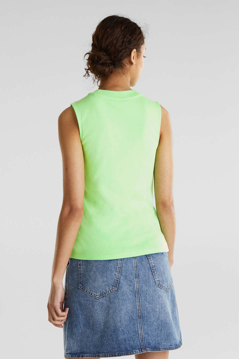 Band collar top in 100% cotton, LIGHT GREEN 4, detail image number 2