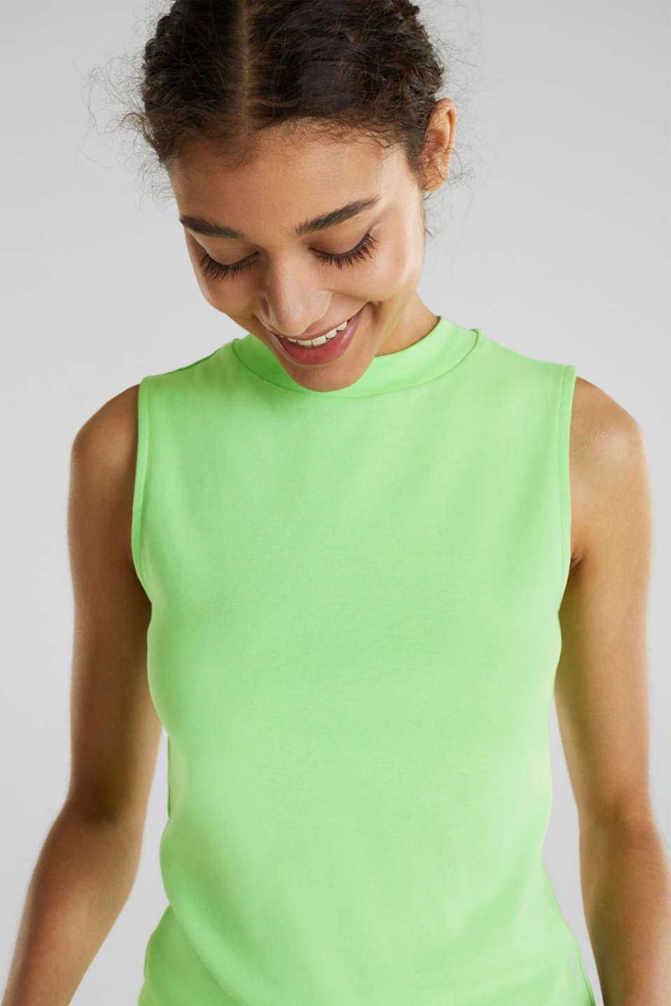 Band collar top in 100% cotton, LIGHT GREEN 4, detail image number 4