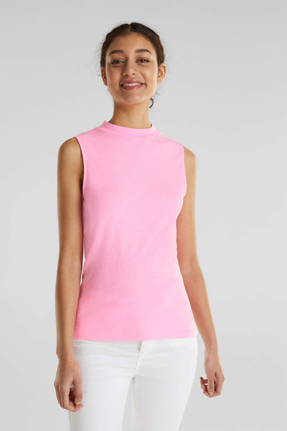 Band collar top in 100% cotton, PINK 4, detail image number 0