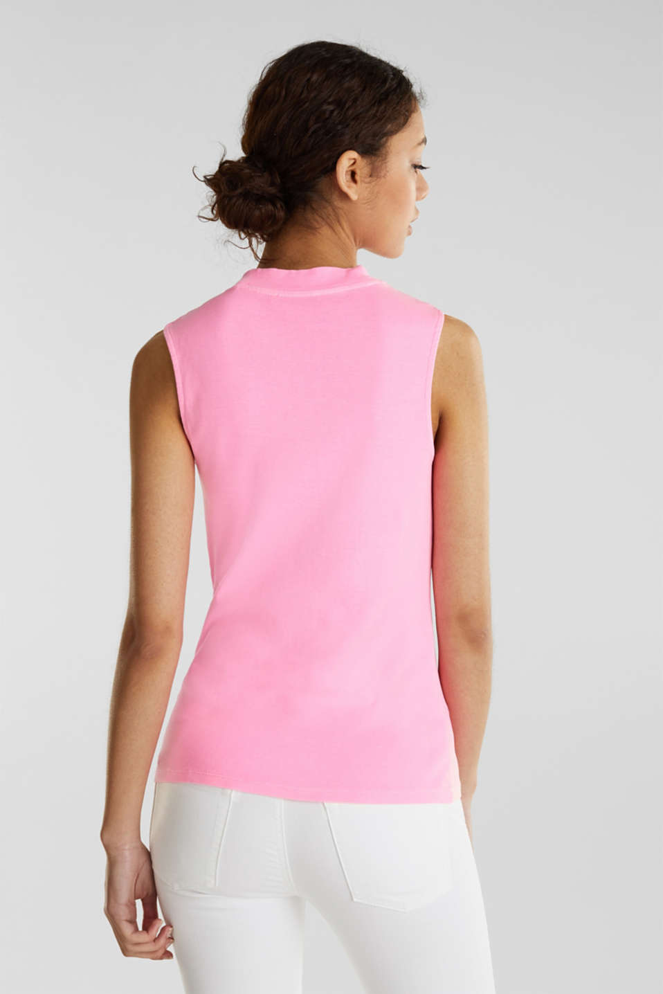 Band collar top in 100% cotton, PINK 4, detail image number 2