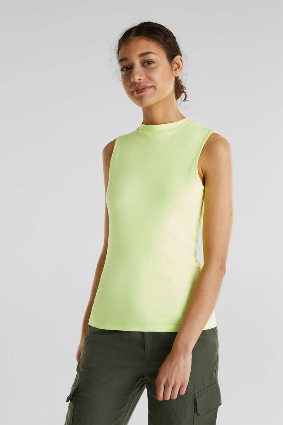 Band collar top in 100% cotton, LIME YELLOW 3, detail image number 0