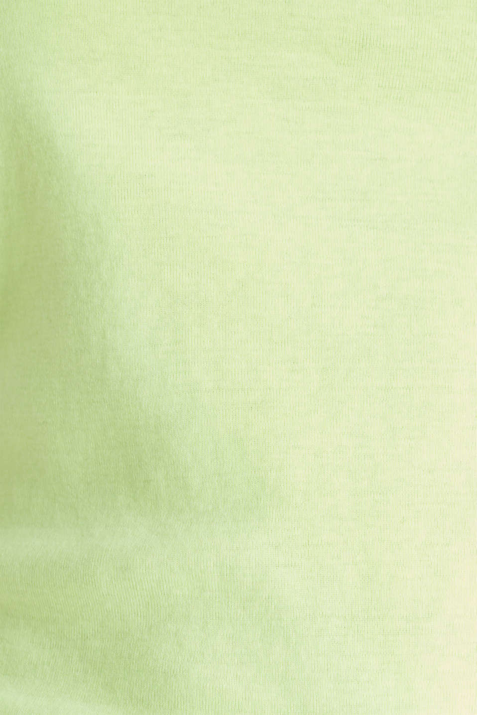 Band collar top in 100% cotton, LIME YELLOW 3, detail image number 3