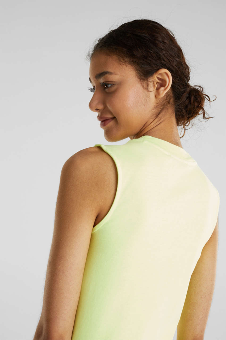 Band collar top in 100% cotton, LIME YELLOW 3, detail image number 5