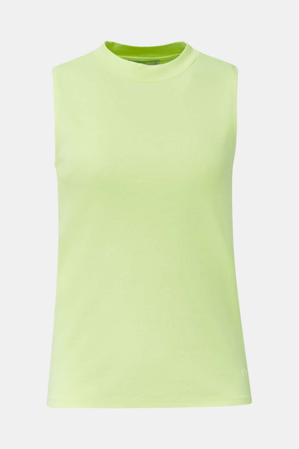 Band collar top in 100% cotton, LIME YELLOW 3, detail image number 6