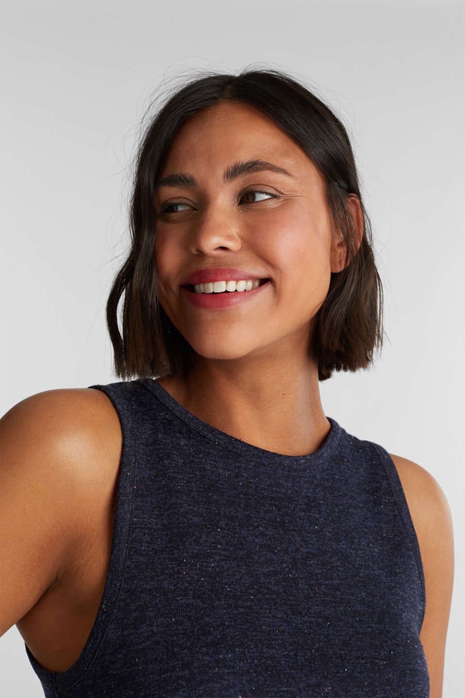 Sleeveless top with colourful dimples, NAVY, detail image number 5