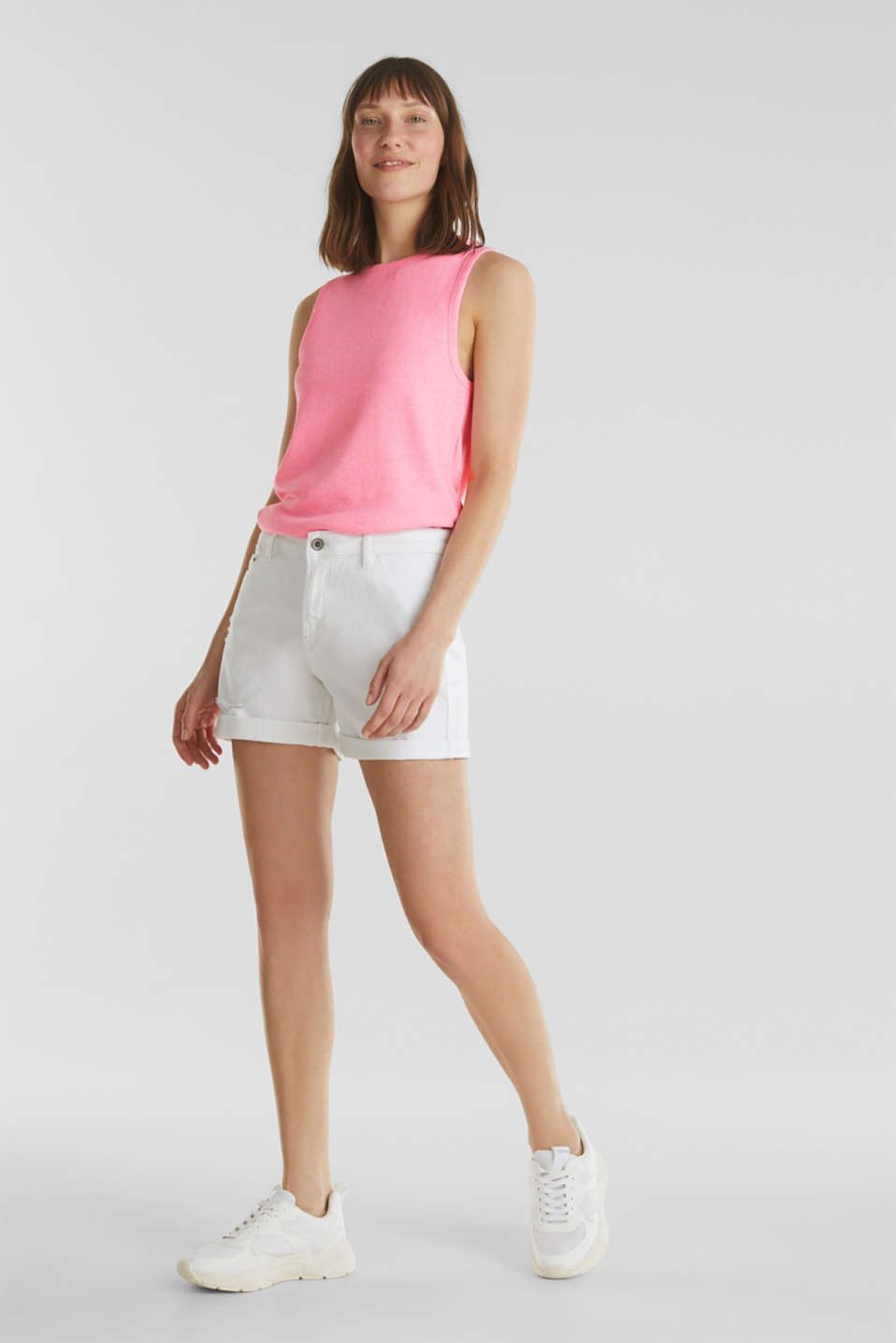 Jersey top with dimples, PINK, detail image number 1