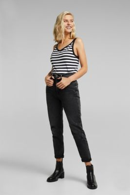 Striped top with double straps, BLACK, detail