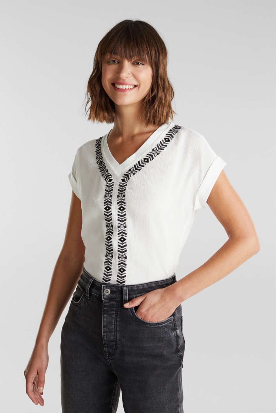 edc - Embroidered top in a mix of materials