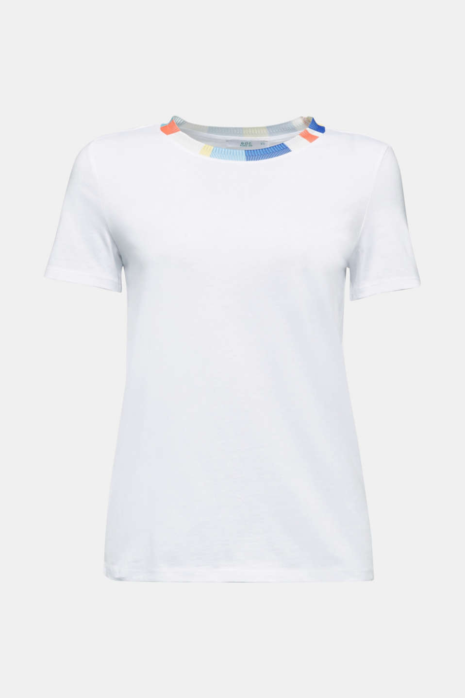T-shirt with a colourful knit border, WHITE, detail image number 6