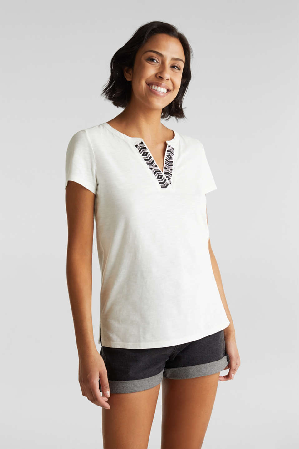 Embroidered T-shirt, 100% organic cotton, OFF WHITE, detail image number 0