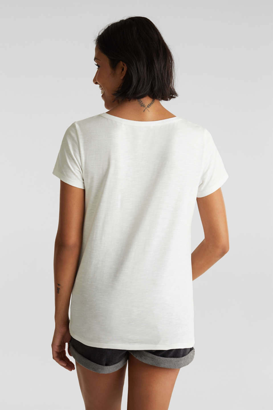 Embroidered T-shirt, 100% organic cotton, OFF WHITE, detail image number 3