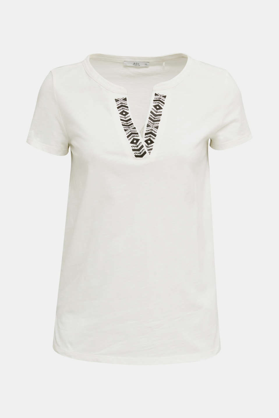 Embroidered T-shirt, 100% organic cotton, OFF WHITE, detail image number 5