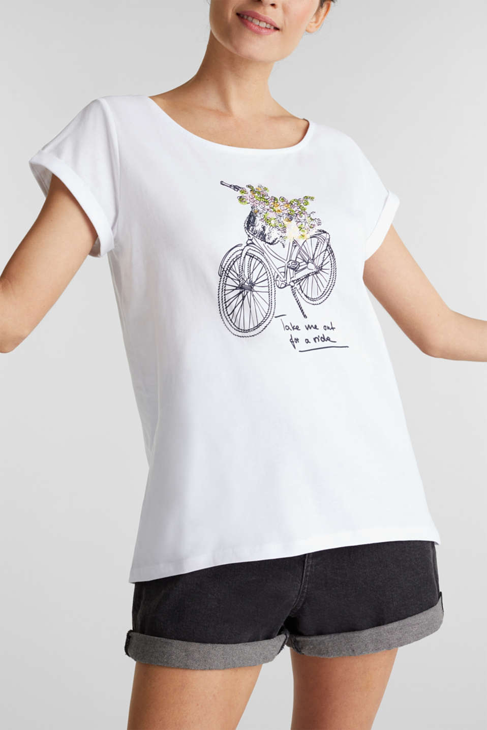 Top made of 100% organic cotton, WHITE, detail image number 2