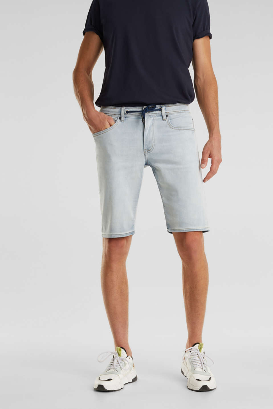 Tracksuit denim shorts with organic cotton, BLUE BLEACHED, detail image number 0