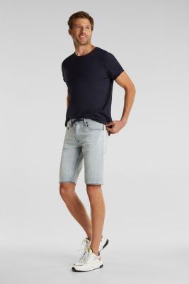 Tracksuit denim shorts with organic cotton, BLUE BLEACHED, detail