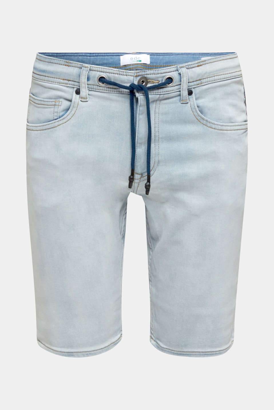 Tracksuit denim shorts with organic cotton, BLUE BLEACHED, detail image number 4