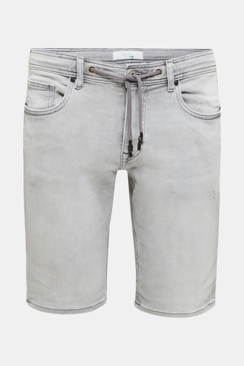 Denim shorts in a tracksuit bottom-style fabric