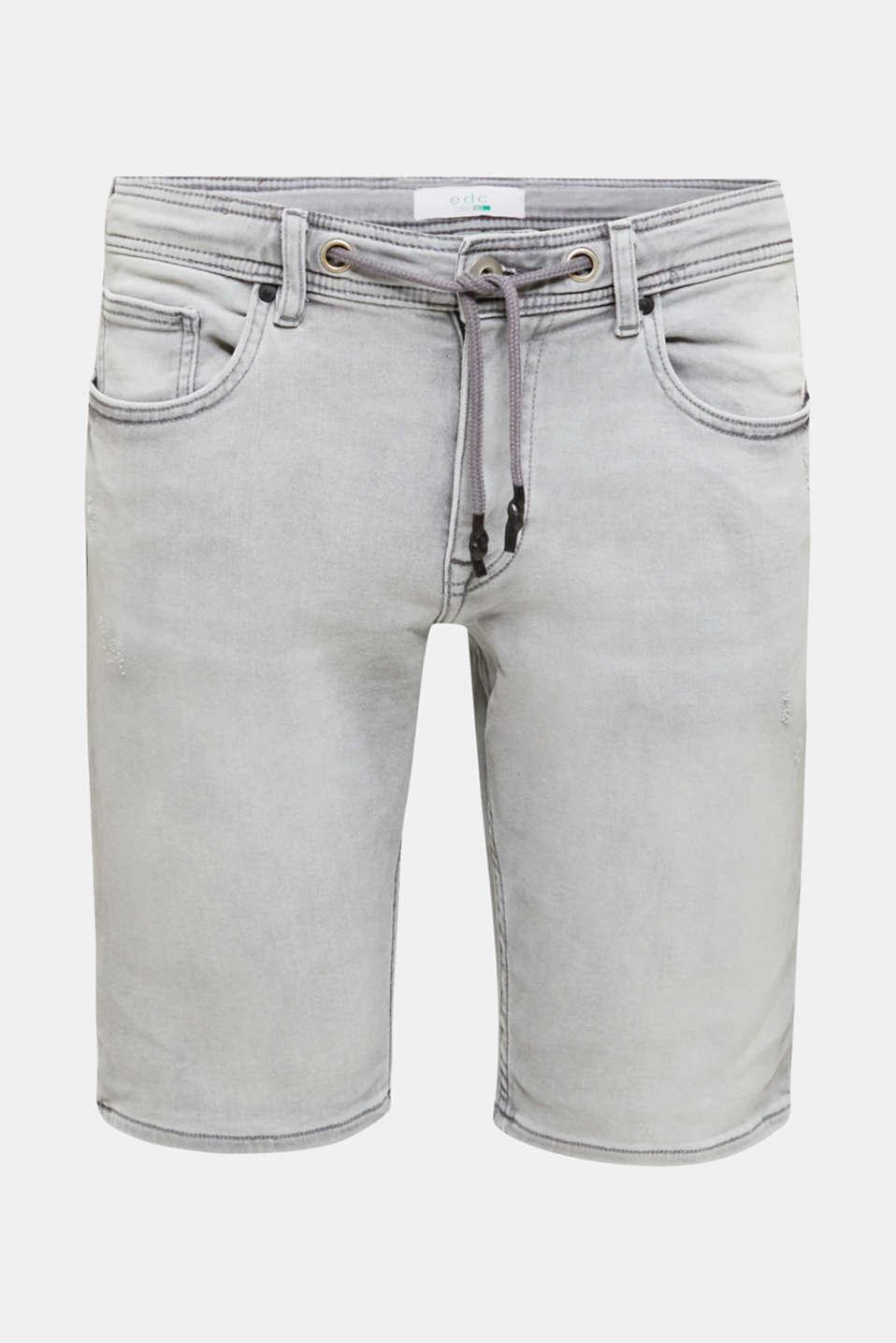 Denim shorts in a tracksuit bottom-style fabric, GREY BLEACHED, detail image number 5