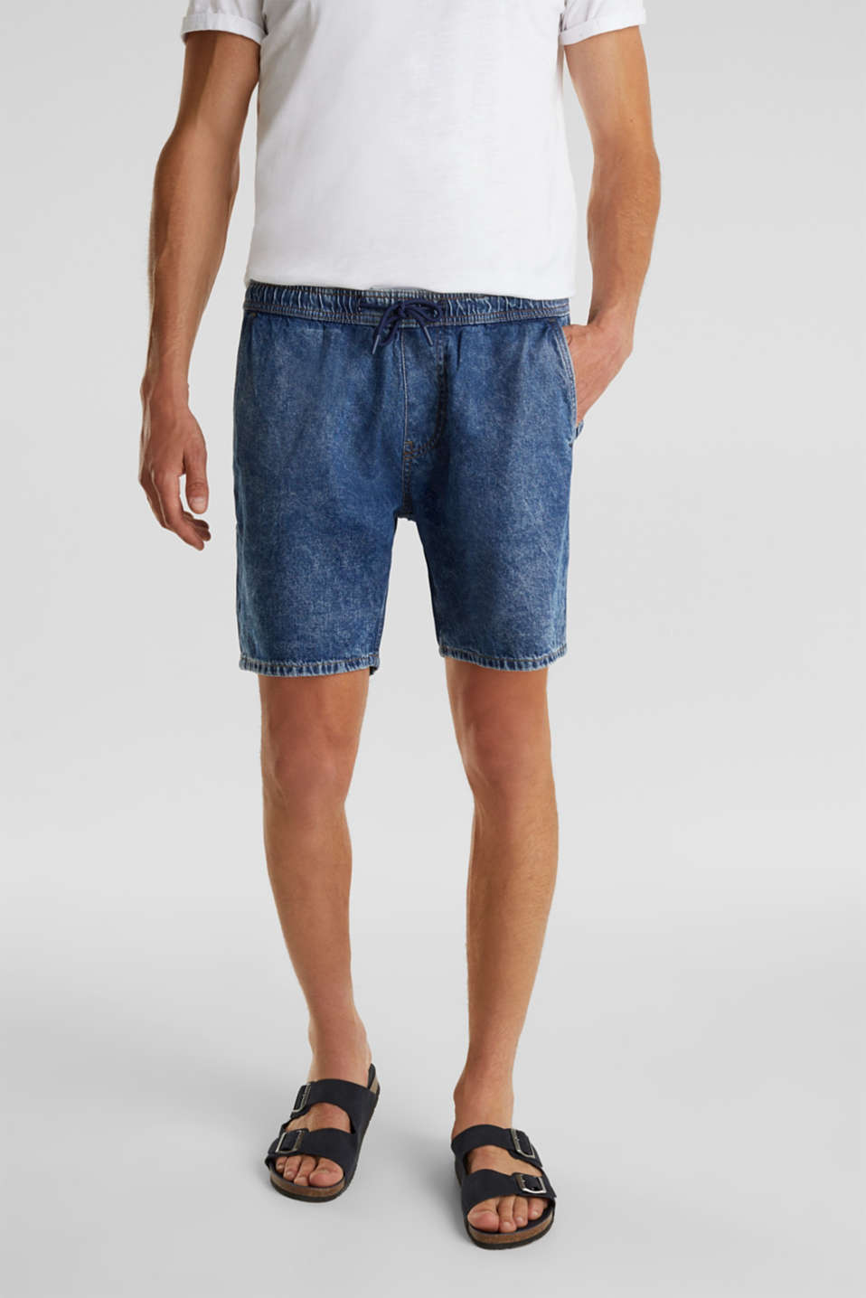 Denim shorts with organic cotton, BLUE MEDIUM WASH, detail image number 0