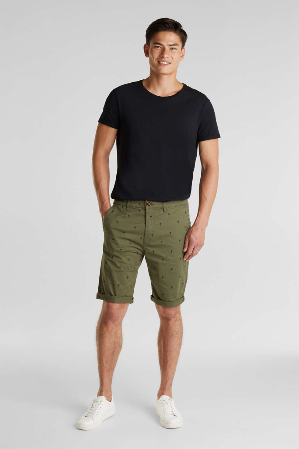 Shorts with a palm tree print, OLIVE 4, detail image number 1