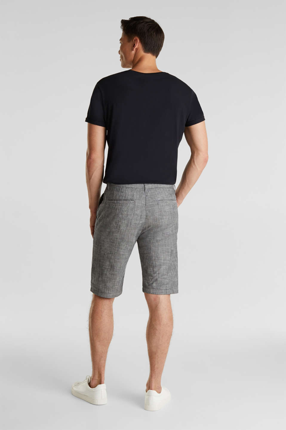 Chambray shorts in a chino look, GREY, detail image number 3