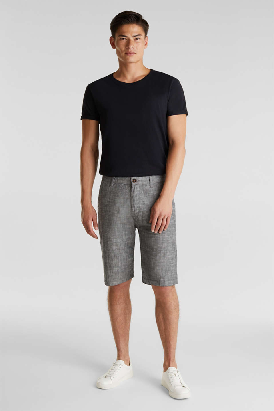 Chambray shorts in a chino look, GREY, detail image number 1