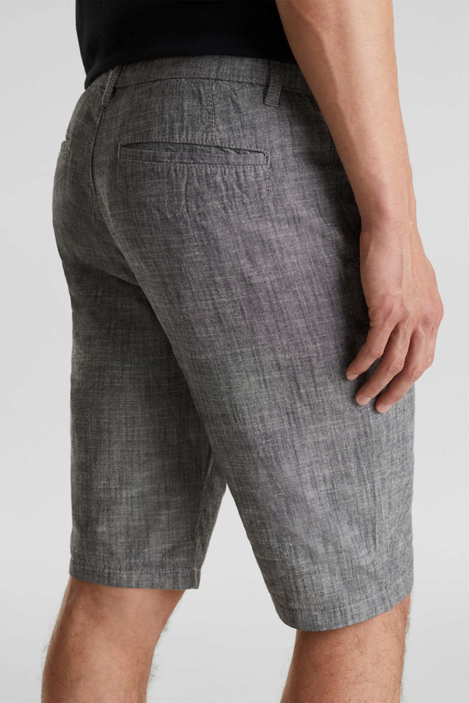 Chambray shorts in a chino look, GREY, detail image number 2