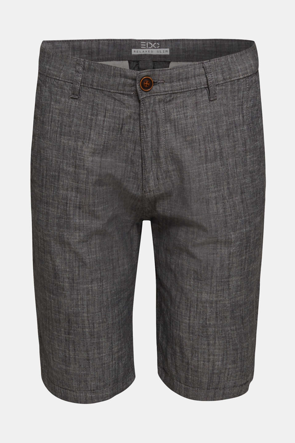 Chambray shorts in a chino look, GREY, detail image number 5