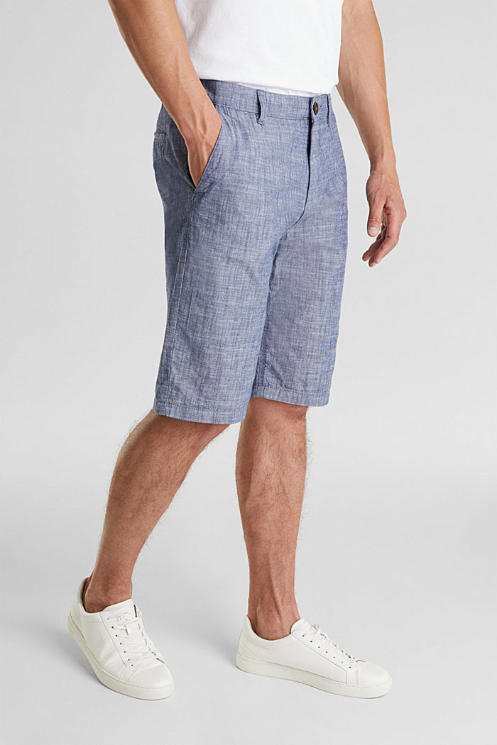 Chambray shorts in a chino look, NAVY, detail image number 0