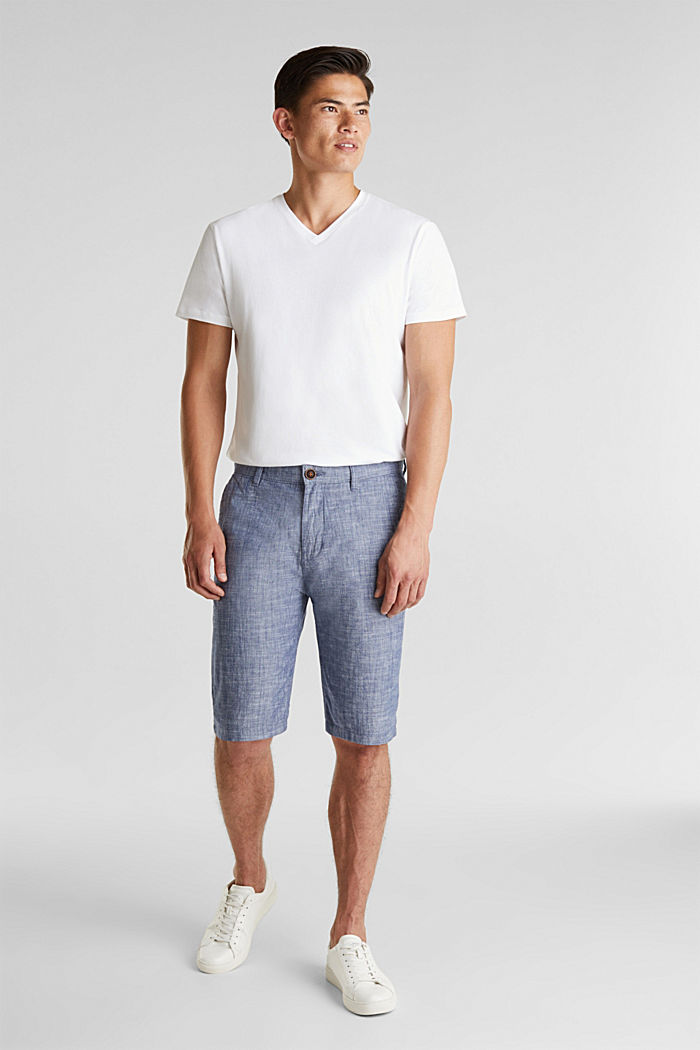 Chambray shorts in a chino look, NAVY, detail image number 1