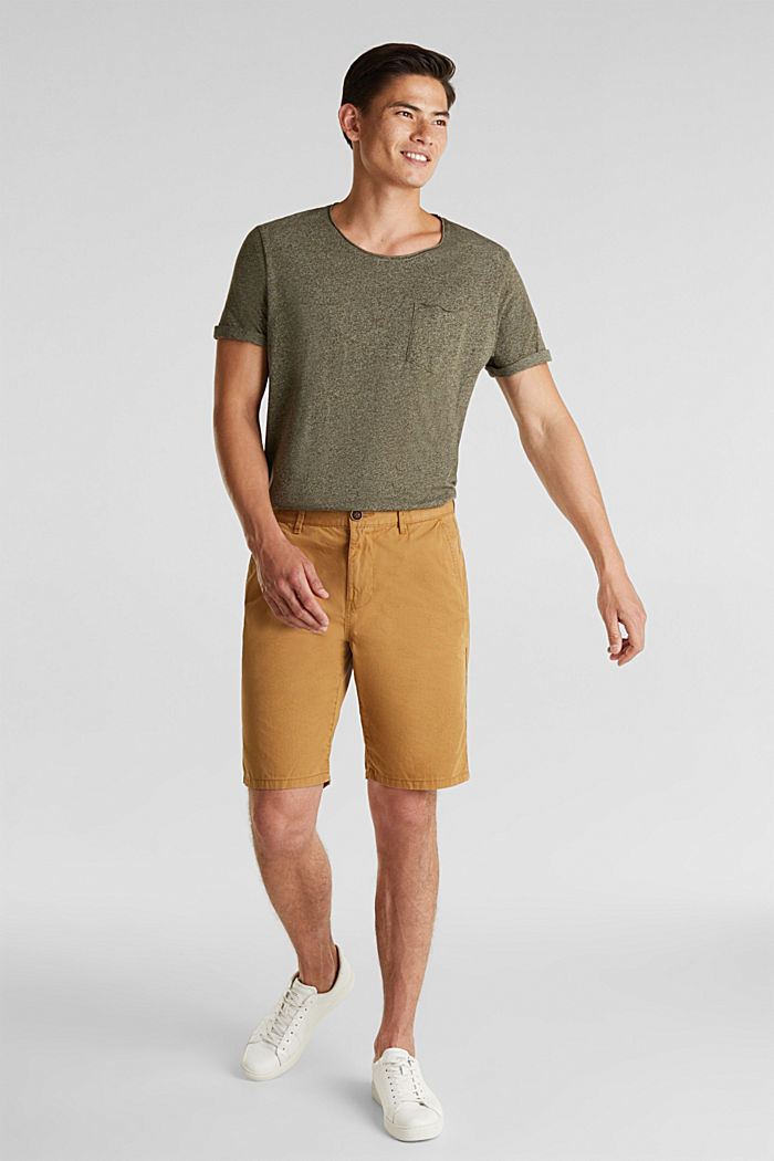 shorts in 100% cotton, CAMEL, detail image number 1