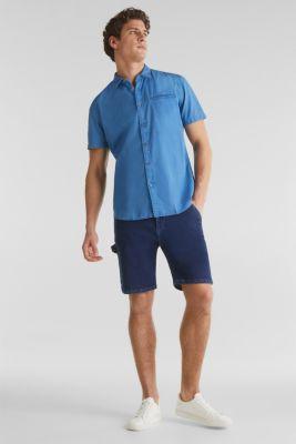 Textured shirt, 100% cotton, BLUE 2, detail