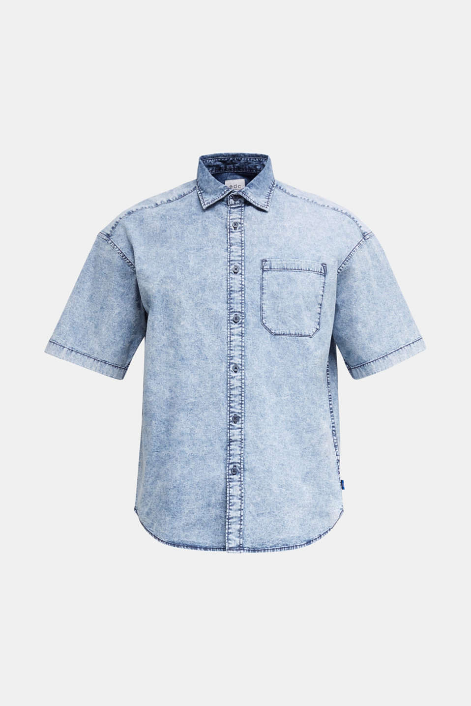 Shirt in a vintage look, BLUE BLEACHED, detail image number 8