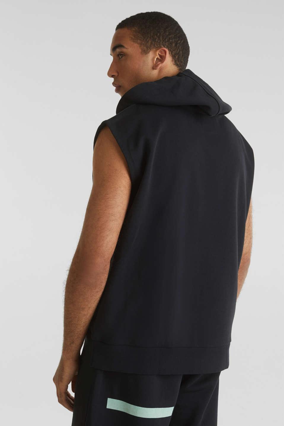 #throwback sweatshirt fabric hoodie with organic cotton, BLACK, detail image number 3