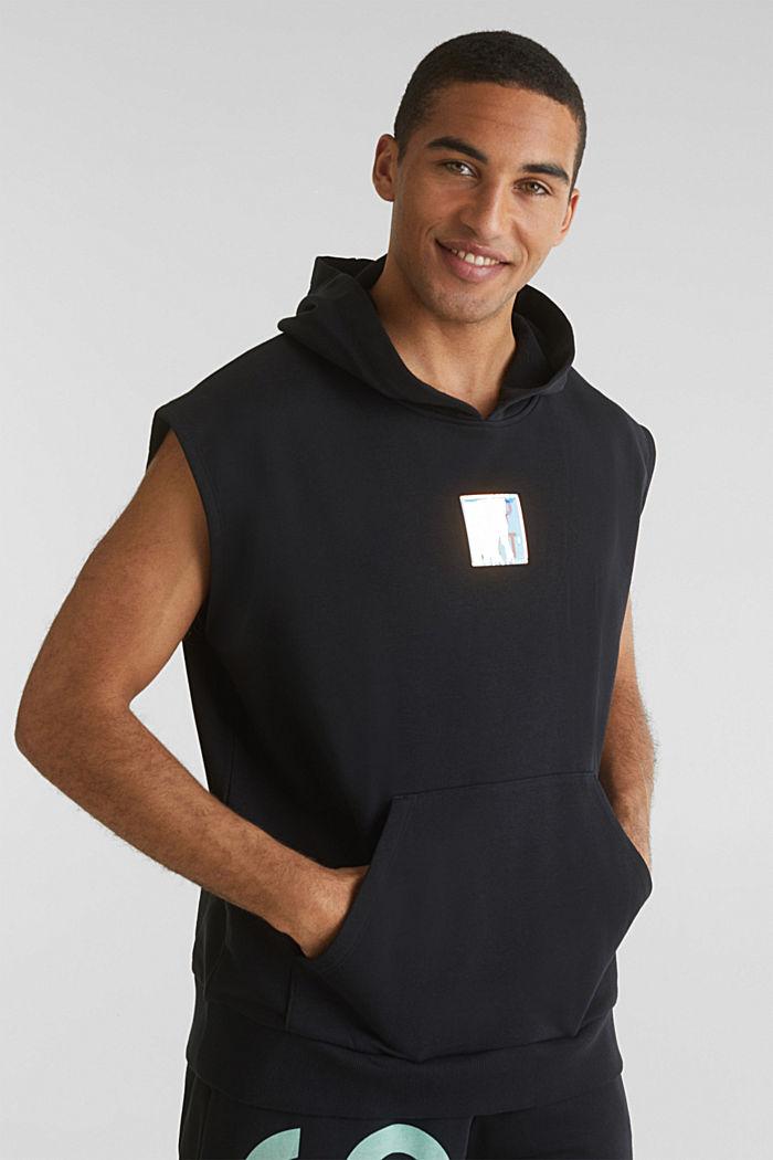 #throwback sweatshirt fabric hoodie with organic cotton, BLACK, detail image number 4