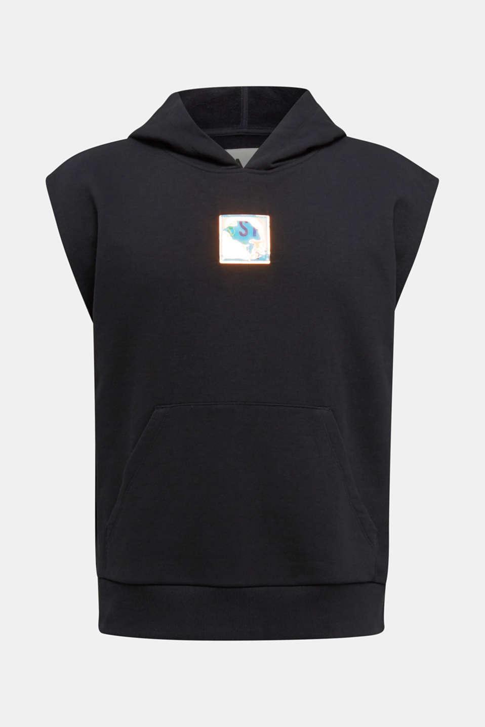 #throwback sweatshirt fabric hoodie with organic cotton, BLACK, detail image number 6