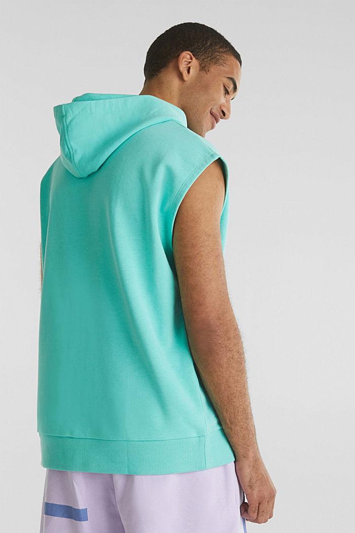#throwback sweatshirt fabric hoodie with organic cotton, PASTEL GREEN, detail image number 3