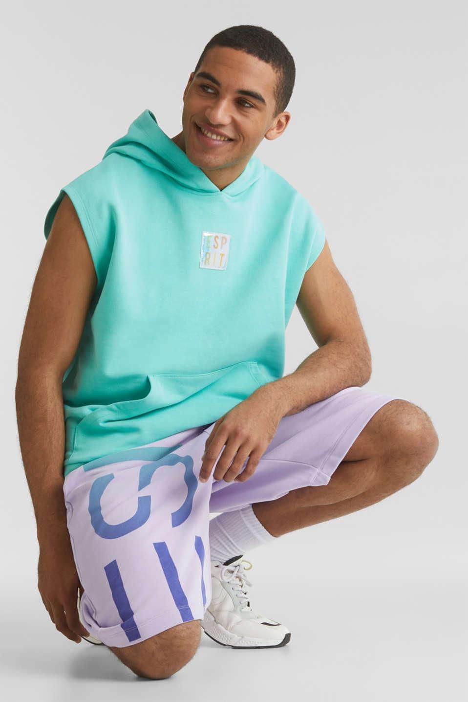 #throwback sweatshirt fabric hoodie with organic cotton, PASTEL GREEN, detail image number 6