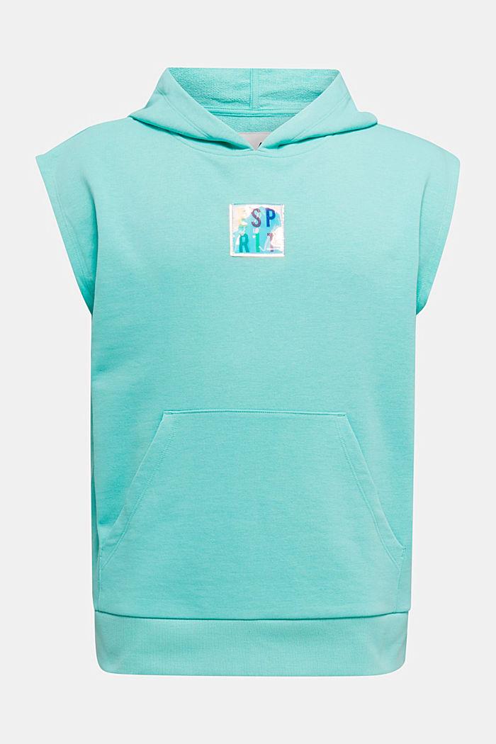 #throwback sweatshirt fabric hoodie with organic cotton, PASTEL GREEN, detail image number 8