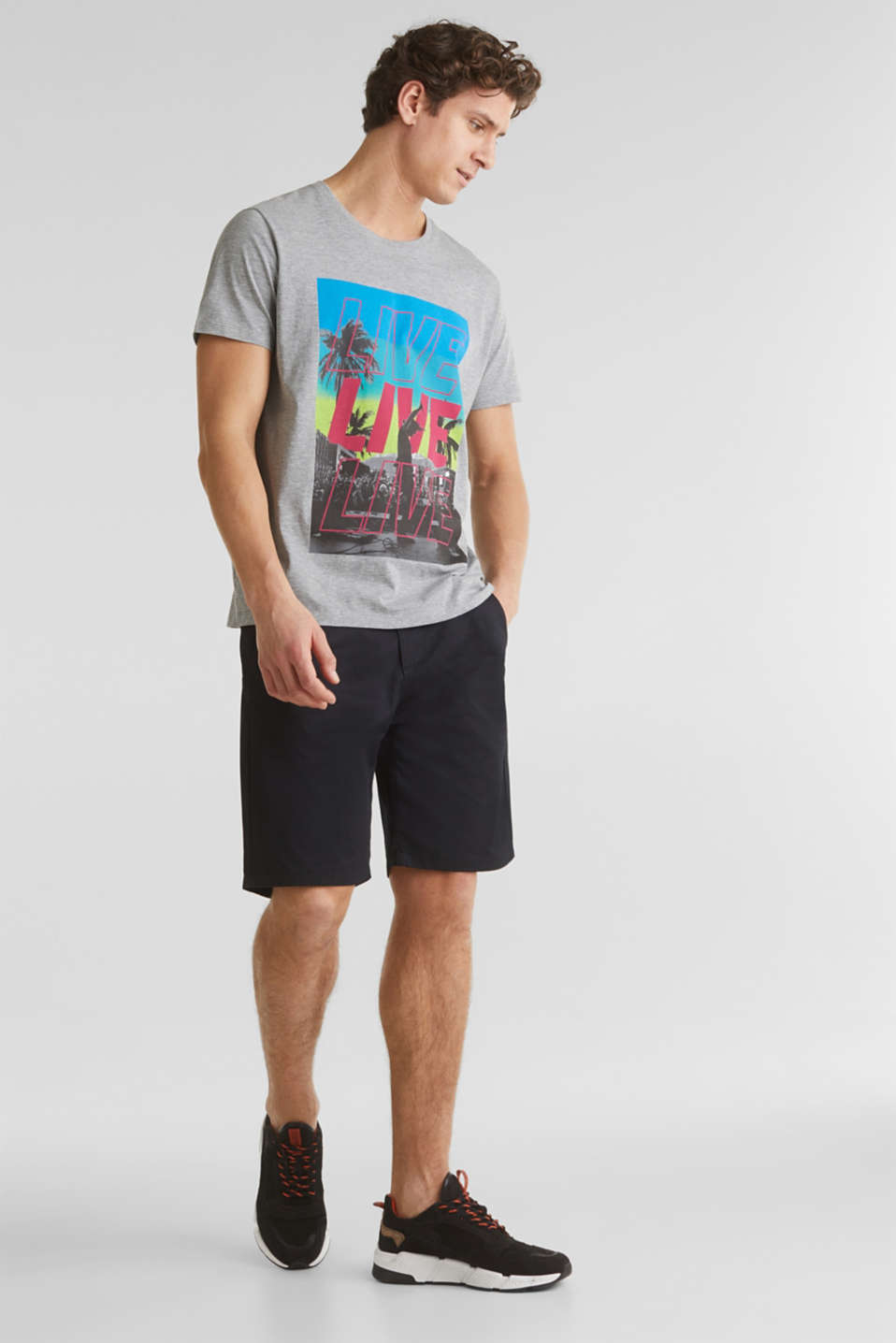 Jersey T-shirt with a print and organic cotton, MEDIUM GREY 5, detail image number 2