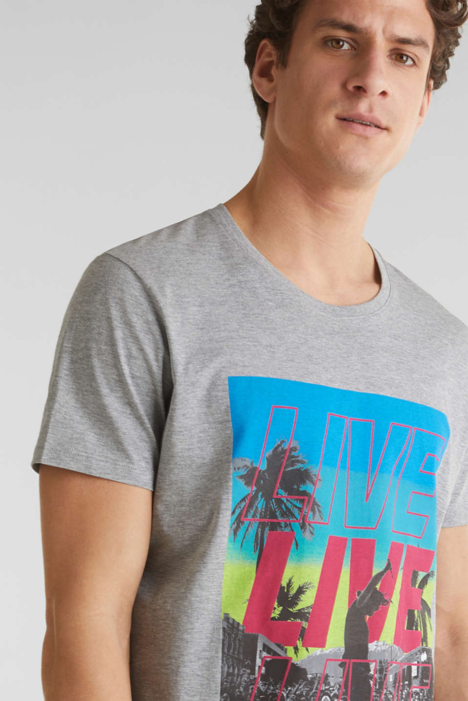 Jersey T-shirt with a print and organic cotton, MEDIUM GREY 5, detail image number 1
